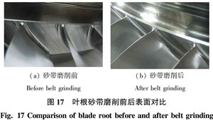 Comparison of blade root before and after belt grinding